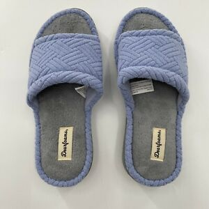 Women's Dearfoams Abby Textured Terry Blue Slide Slippers House Shoe Size M/7-8