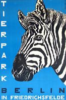 "Vintage Zoo Art CANVAS PRINT Berlin Germany Zebra 24""X18"""