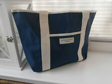 Elizabeth Hurley Beach Bag Water Resistant Canvas Nautical Navy Blue Tote new