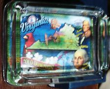 """VIRGINIA """"OLD DOMINION"""" WATERFALL GLASS COLLECTION ASHTRAY"""