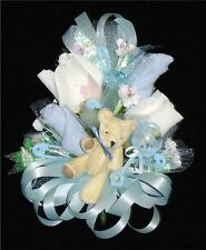 Baby Shower Corsage Set-3 - Blue Ribbons & a Bear Handmade