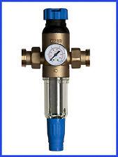"""Hauswasserfilter 1"""" mit Druckminderer und Anzeige, Wasserfilter, spülbar"""