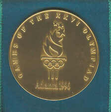 1996 ATLANTA SUMMER OLYMPICS ATHELETES PARTICIPATION MEDAL MINT W/ POUCH AND BOX