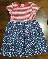Girls HANNA ANDERSSON Floral Dress Sz 140 (10) ~ Stripes Flowers Bunnies Rabbits