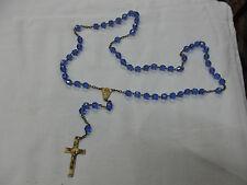 authentique chapelet croix médaillon plaqué or perle en verre bleu superbe