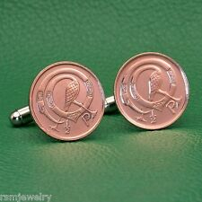 Irish Celtic Bird Coin Cufflinks, Half Penny (Small) Bronze Ireland
