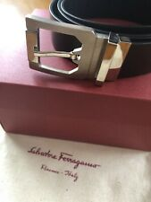 Salvatore Ferragamo Men's Brown Belt, Silver Buckle