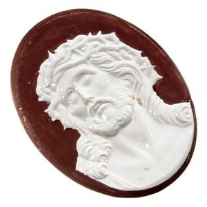 Czech vintage hand colored figural religious cameo glass cabochon 36mm