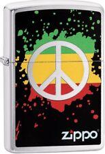 Zippo 2018 Peace Splash Green Yellow Red Splattered Paint Brushed Chrome 29606