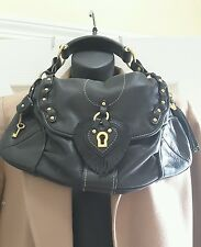 Juicy Couture women's hobo handbag black leather with gold hardware key