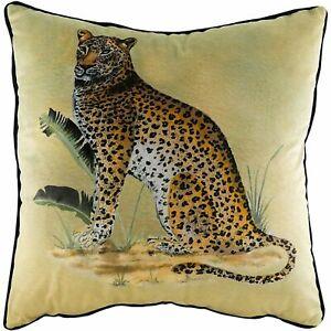 Kibale Leopard Velvet Cushion Covers by Evans Lichfield.  50x50cm