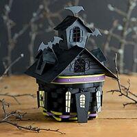 HAUNTED HOUSE Halloween Basket 5 Tie-Ons and Metal Lid Longaberger NEW
