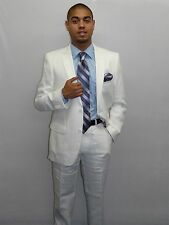 Men's White Linen suit By RENOIR Soft Tropical Casual Dress Light Weight 601 NEW