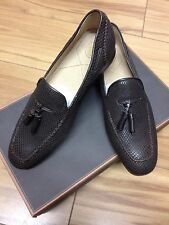 HUDSON BROWN LOAFER SNAKE FINISH SHOE. 11
