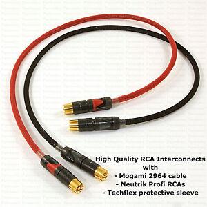 MOGAMI 2964 RCA Interconnects PAIR w/ NEUTRIK ProFi Connectors & TECHFLEX Sleeve