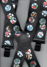 "MENS BRACES FOOTBALL WORLD CUP FLAGS 2"" WIDE  48"" LONG BRACE YOURSELF"