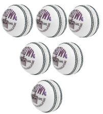 6 X Crown White 4 Piece Cricket Ball Premium Grade Genuine Leather Hand Stitch
