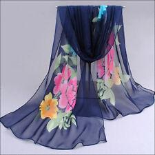 160cm Women's Long Wrap Soft Shawl Scarf Summer Thin Floral Wrap Chiffon Scarves