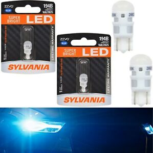 Sylvania ZEVO LED Light 194 Blue 10000K Two Bulbs License Plate Tag Upgrade Fit