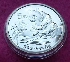 1996 CHINA SILVER PANDA  1/2 oz 5 YUAN  BU COIN
