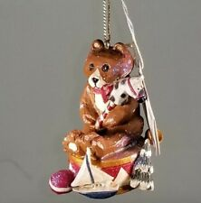 "Pam Schifferl Brown Bear Holding Toys X'Mas Ornament 3"" Tall Winter's Eve Exc"