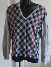 Ben Sherman Mens 100% Cotton Argyle V-neck Golf Sweater Long Sleeve Size Large