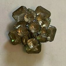 Vintage Large Faceted Clear Glass Stones Silvertone Brooch