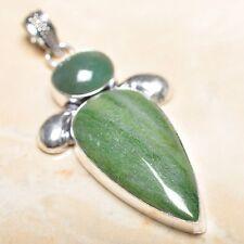 "Handmade Phantom Crystal Quartz Lodolite Green Moss Agate 2.75"" Pendant #P15342"