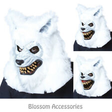 A715 White Lycan Werewolf Ani-Motion Wolf Halloween Mask Deluxe Overhead Mask