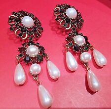 New Oversized Massive Designer EARRINGS Flower Faux Pearls and Crystal Cabochons