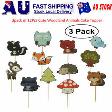 36pcs Woodland Creatures Theme Cupcake Toppers Forest Animals Friends Cake AU