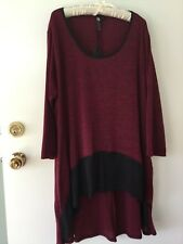 BNWT NEW TS Burgundy Black stretch Tunic 3/4 sleeves Plus size XL high low hem