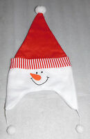 Frosty Snowman Christmas Red Santa Hat White Pom Poms Holiday Decoration Striped