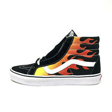 Vans Sk8 Hi Black Flames Men's 13 Skate Shoes New Red Orange White