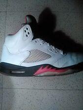 Mens 1990s Air Jordan Original 5s White/Black and Fire Red