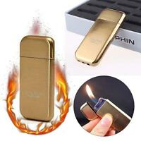 Dolphin Flint Normal Flame Butane Gas Refillable Cigar Cigarette Lighter Gold MT