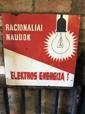 Vintage Eastern European Save Energy Handmade Sign On Hardboard 50cmSQ Industry