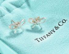 92a7606bb Tiffany & Co Sterling Silver Ribbon Bow Stud Earrings w/ Pouch & Earring  Backs
