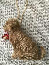 More details for goldendoodle hanging dog decoration with candy cane part needle felted