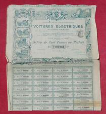 Voitures Electriques ( Procédés Kriéger ) : Action de Cent Francs   !