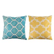 Home Pillow Cover Art Aqua Yellow Blue Geometry Cushion Cotton Blend Case Decor