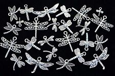 Lot of +25 DRAGONFLY CHARMS SET, Antiqued Tibetan Silver, 10mm to 27mm