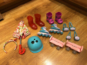 18 Inch Doll Our Generation My Life As Accessories Lot Skates Boots Etc