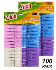 100 x Coloured Plastic Clothes Pegs - 7cm Normal Size Laundry Clothesline