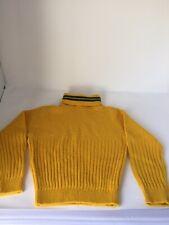 Vintage Boys Mustard Yellow Green Acrylic Turtleneck Sweater Greenbay Packers