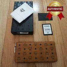 NEW Authentic MCM Zip Around Wallet in Visetos Original Cognac Brown