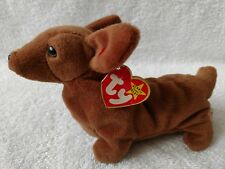 REMARKABLY RARE 1995 TY BEANIE BABY WEENIE DOG NO STAR,  PVC,  MAJOR ERRORS