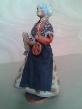 ☆ Ancien Santon de Provence ☆ Boulangère tenant petits pains & fougasse ☆ H 29cm