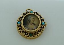 Beautiful Antique 14K Gold Turquoise Miniature Portrait-Painting Locket