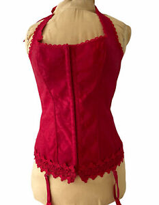 Frederick's Of Hollywood Corset Bustier Gartered Sexy Seductive Red Halter Sz 40